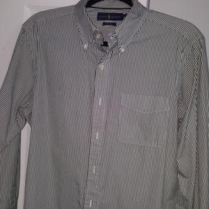 Men's RL Polo dress shirt white and green stripe
